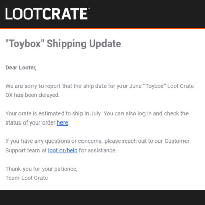 June 2019 Loot Crate DX Shipping Update