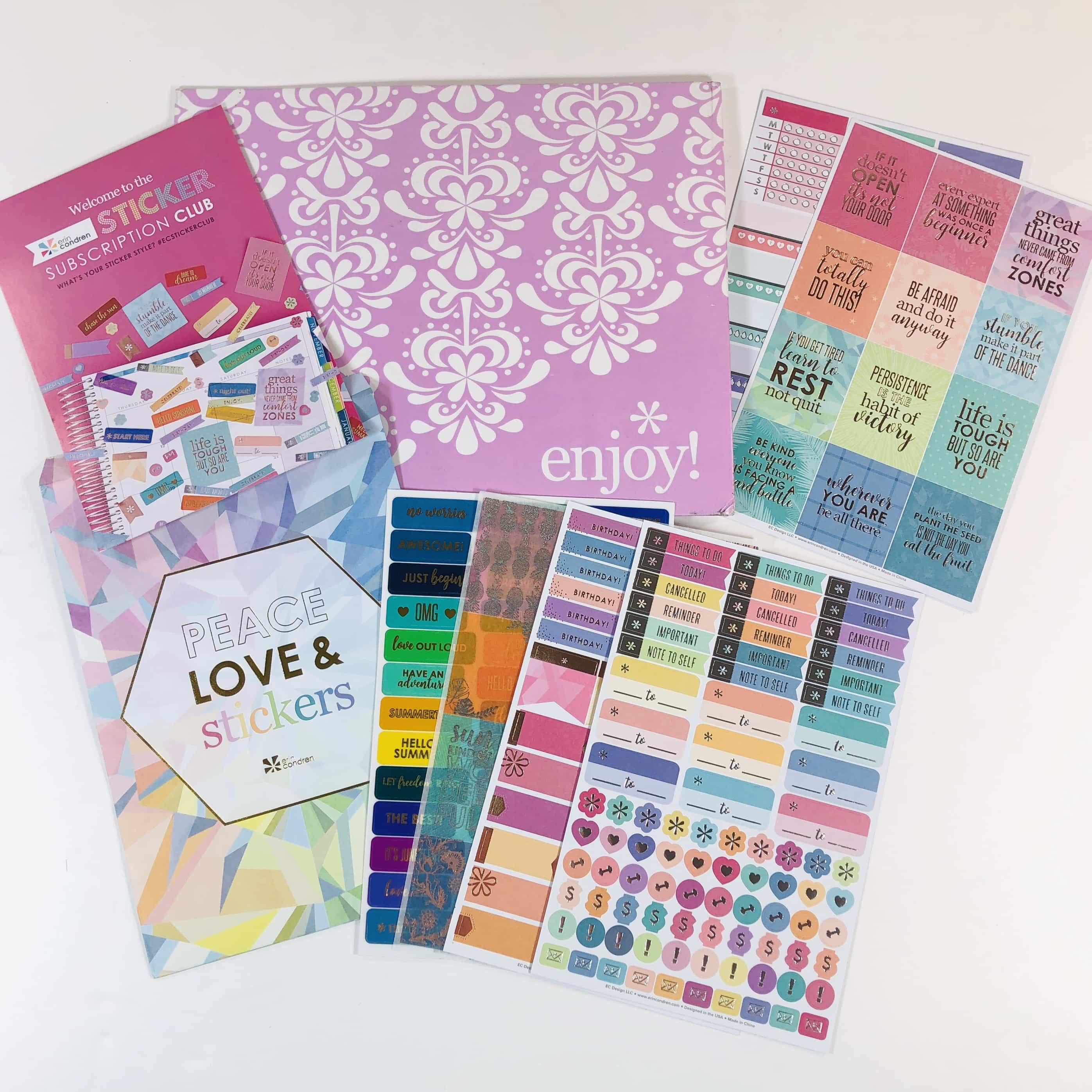 Erin Condren Sticker Club Summer 2019 Subscription Box Review