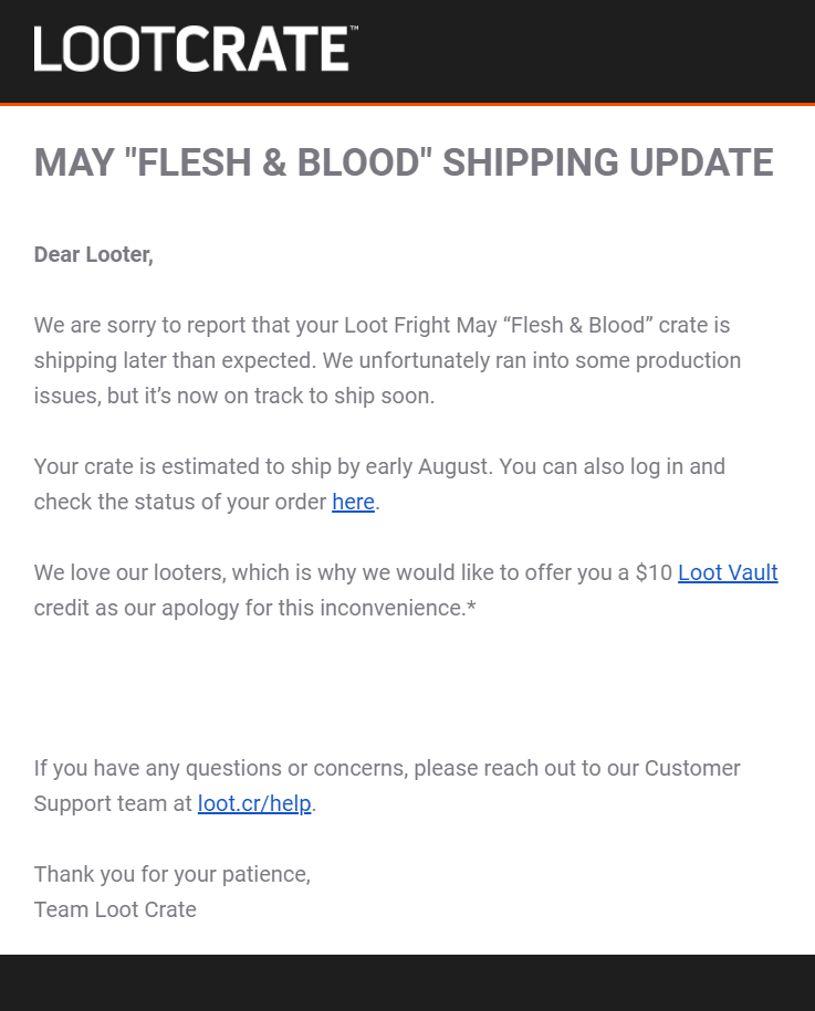 Loot Fright May 2019 Shipping Update #2 + Coupon!