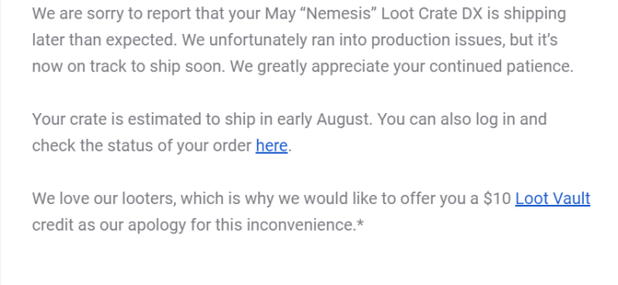 May 2019 Loot Crate DX Shipping Update #2