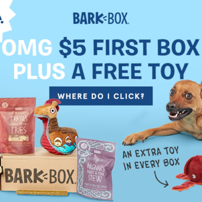 BarkBox Coupon: First Box $5 + FREE Extra Toy!