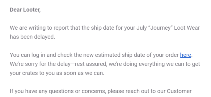 Loot Wear July 2019 Shipping Update
