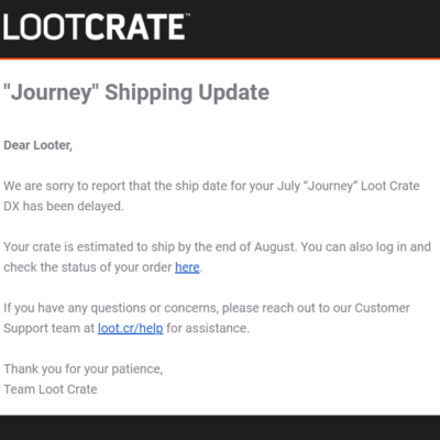 July 2019 Loot Crate DX Shipping Update