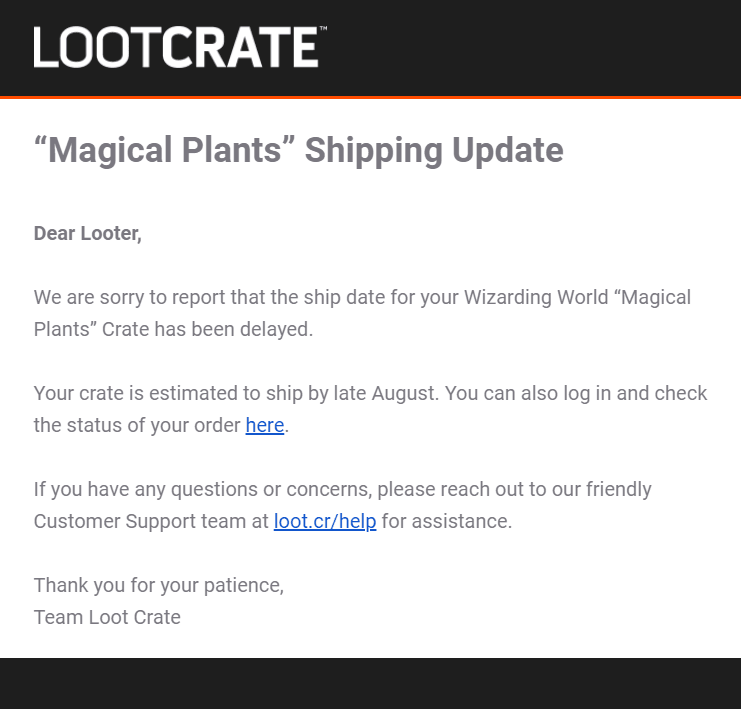 Wizarding World July 2019 Shipping Update