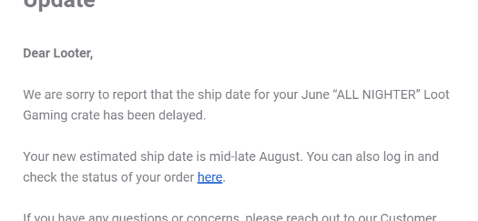 June 2019 Loot Gaming Shipping Update #2