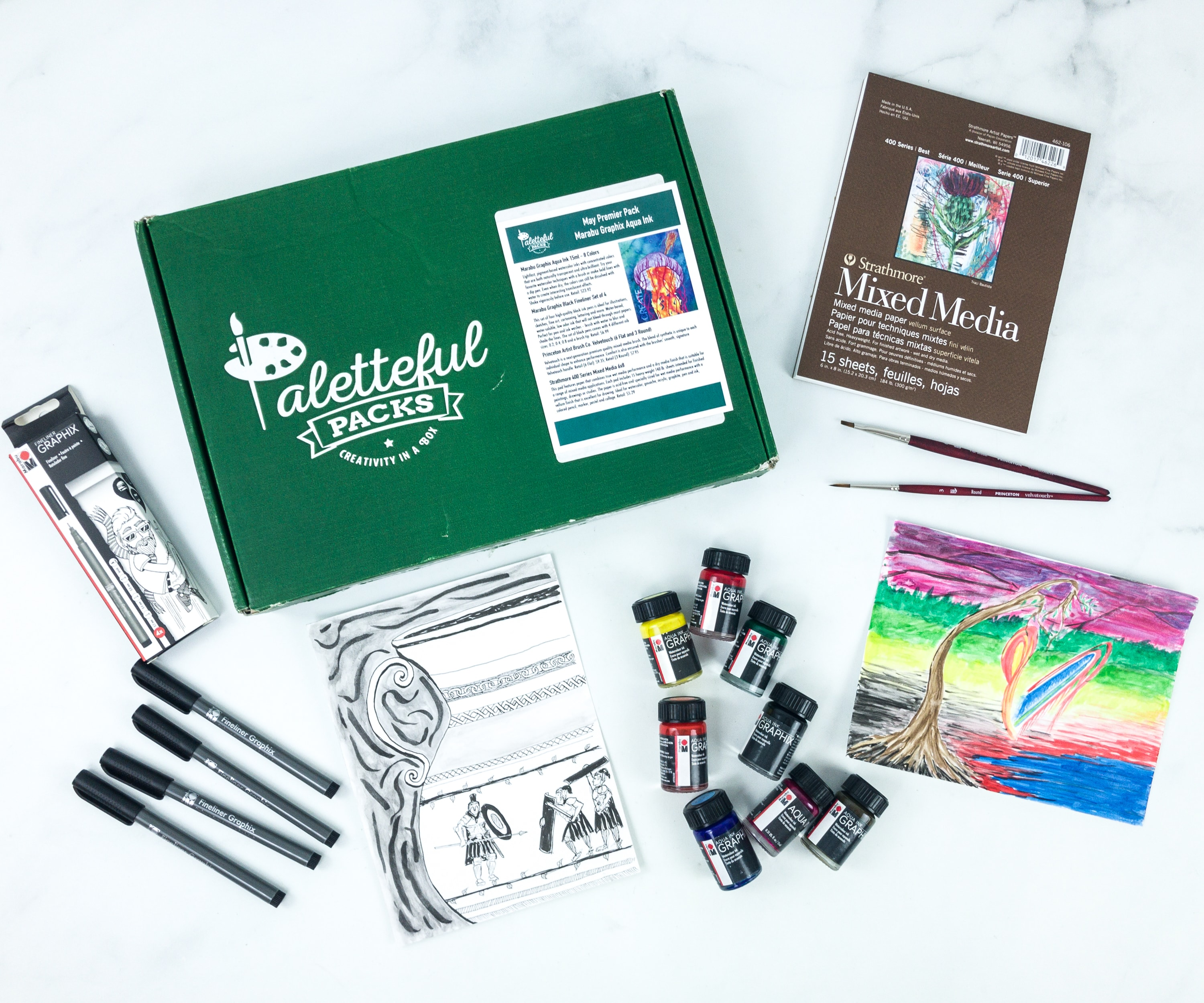 Paletteful Packs Subscription Box Review + Coupon – Marabu Graphix Aqua Ink