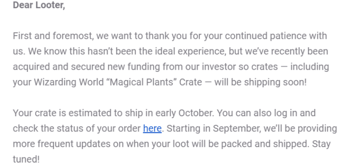 Wizarding World January 2020 Shipping Update