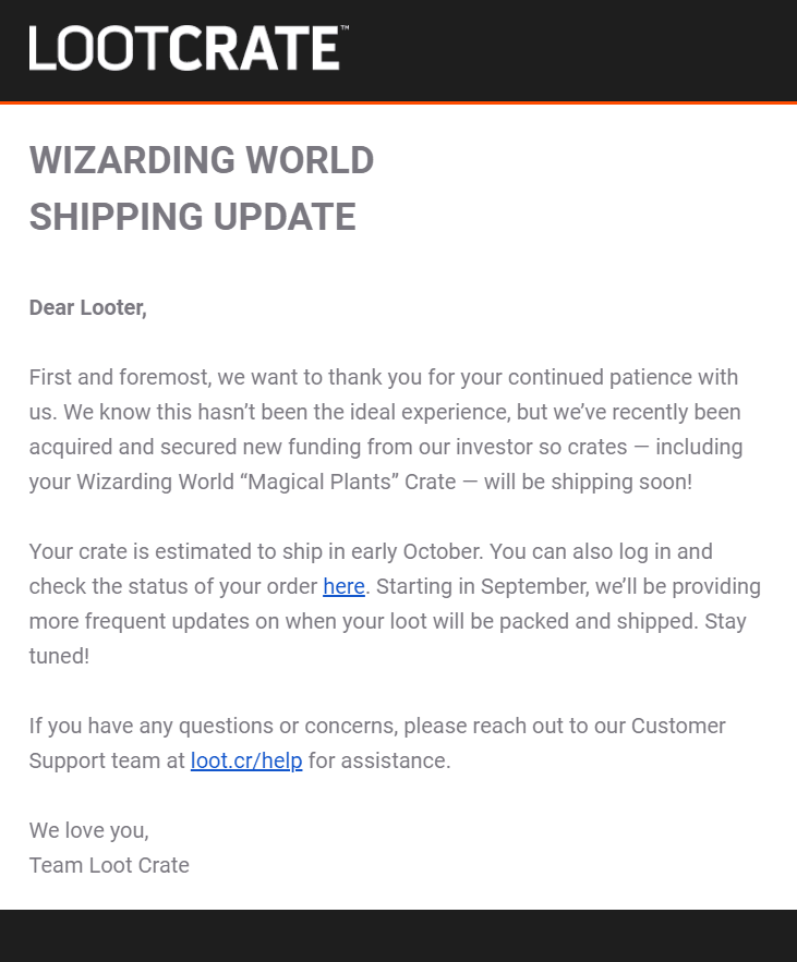 Wizarding World July 2019 Shipping Update #2