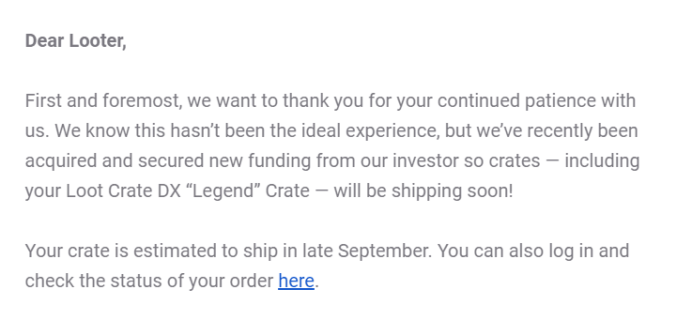 August 2019 Loot Crate DX Shipping Update