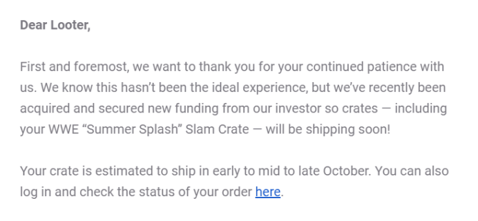 WWE Slam Crate August 2019 Shipping Update
