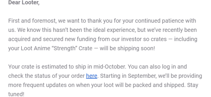 Loot Anime August 2019 Shipping Update!