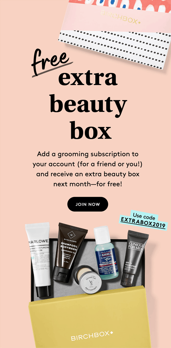 Birchbox Grooming Coupon: FREE Extra Beauty Box with Subscription!