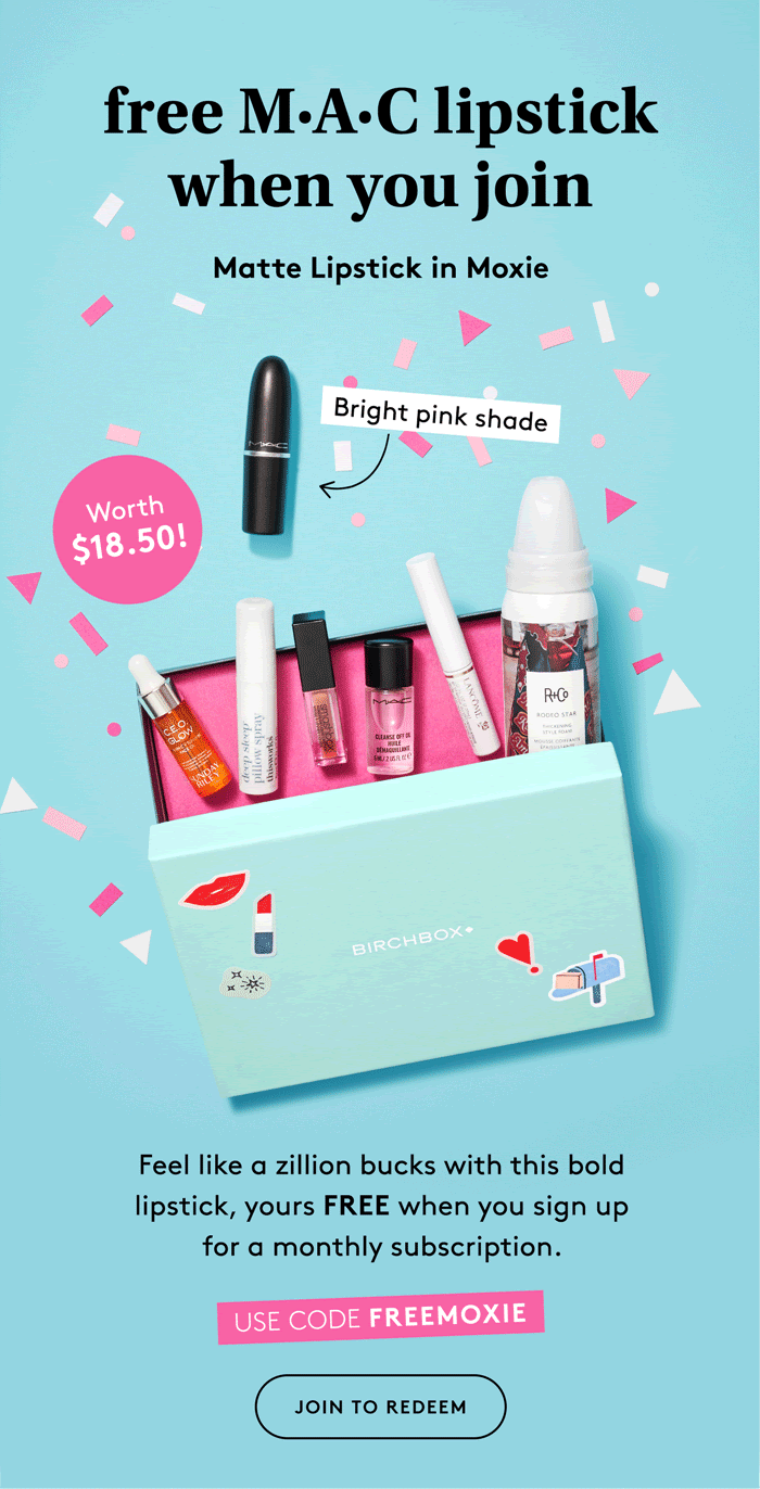 Birchbox Coupon Code: FREE M•A•C Lipstick, Stickers & Pouch!