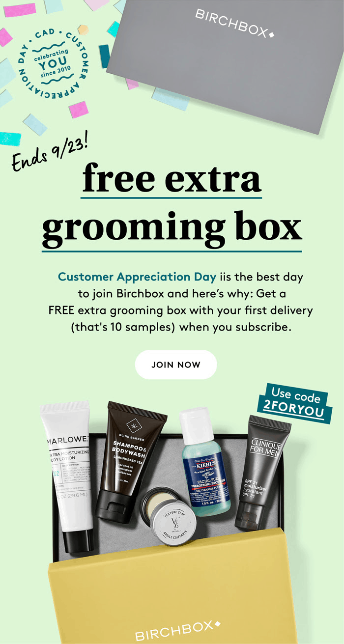 Birchbox Grooming Customer Appreciation Day Coupon: FREE Extra Grooming Box with Subscription!