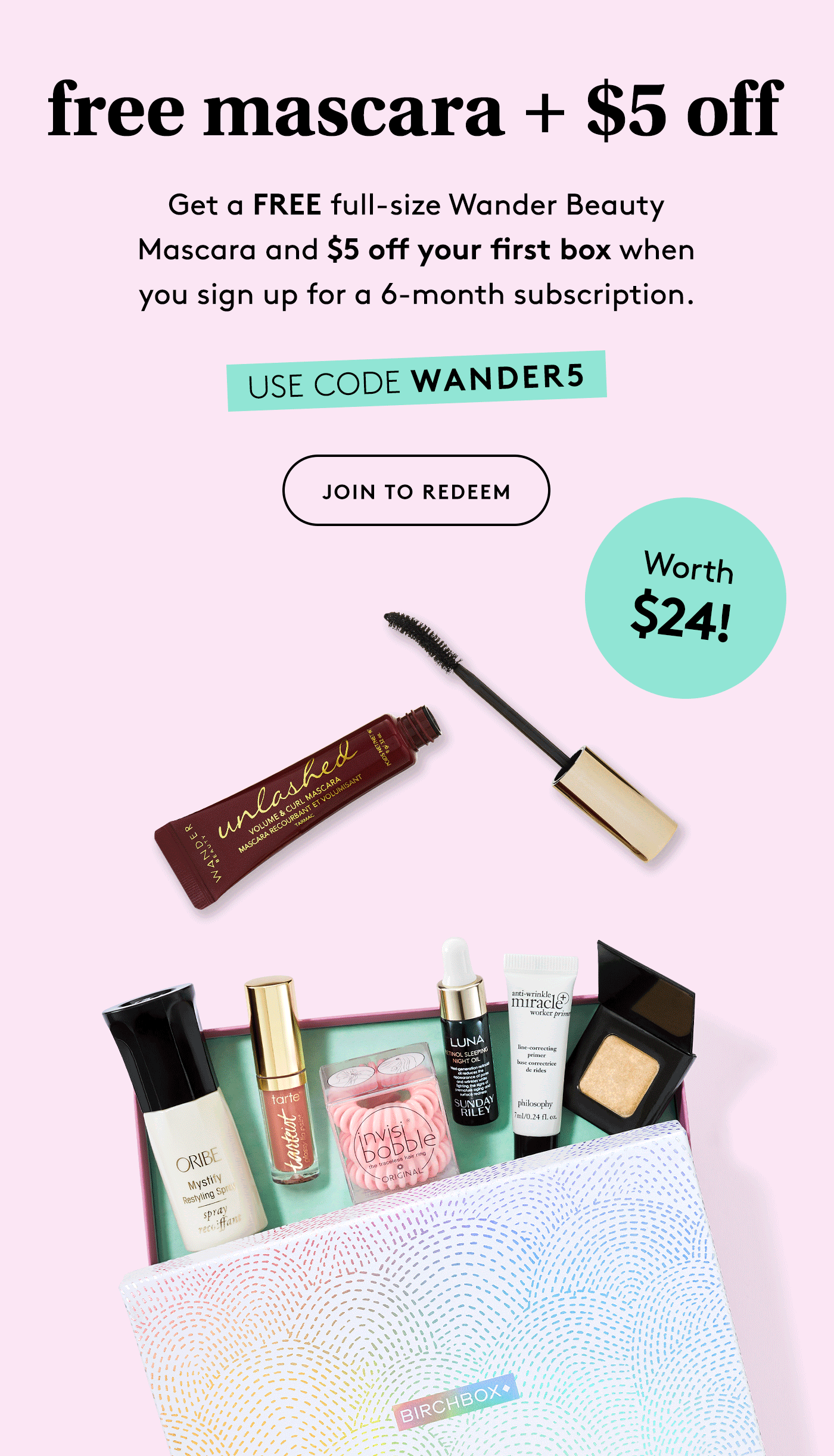 Birchbox Coupon: FREE Wander Beauty Mascara + $5 Off!