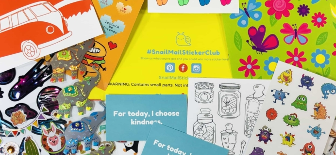Snail Mail Sticker Club September 2019 Subscription Box Review + Coupon