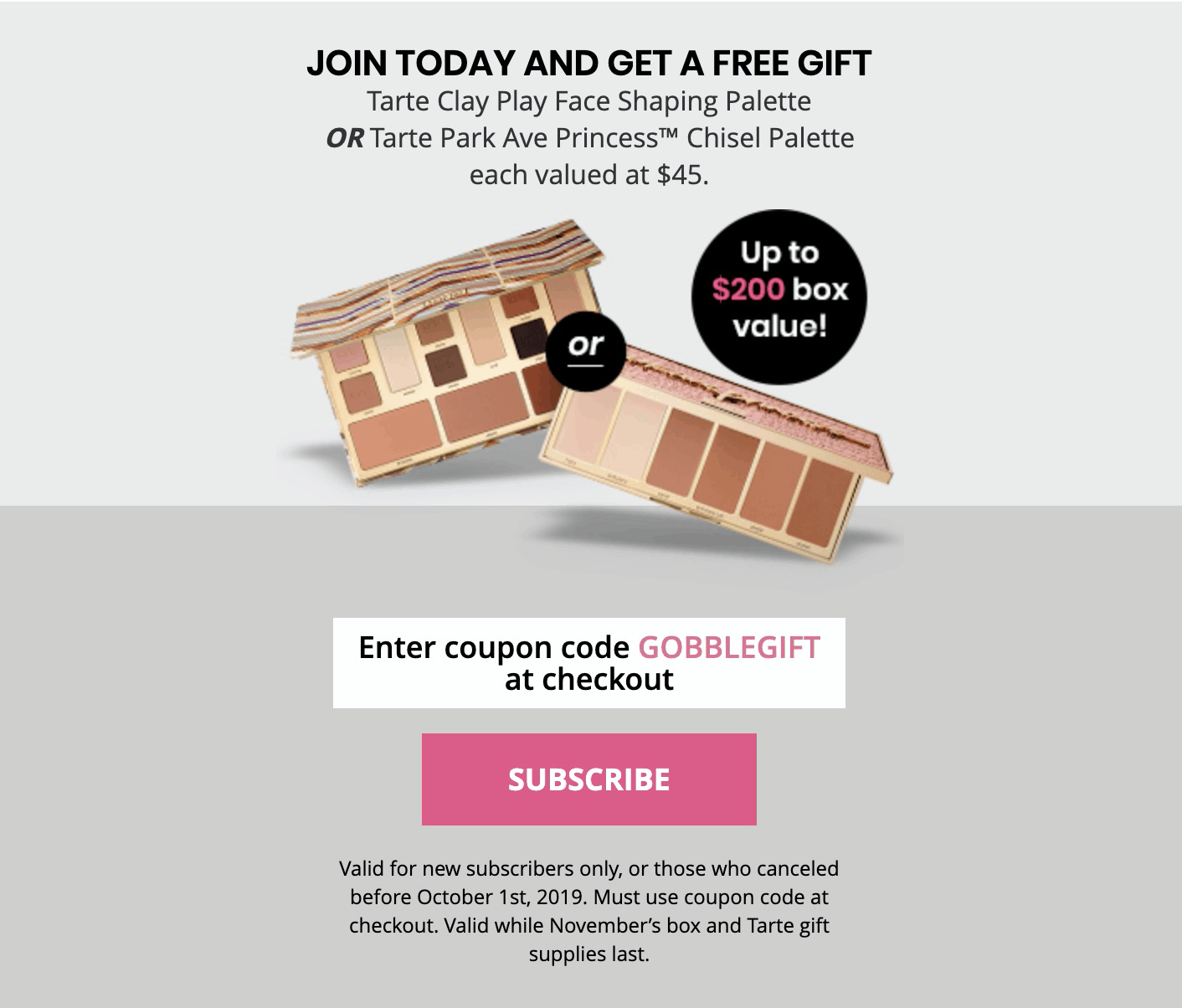 BOXYCHARM Coupon: FREE Tarte Clay Play Face Shaping Palette OR Tarte Park Ave Princess Chisel Palette ($45 Value)!