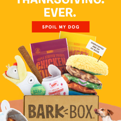 BarkBox CYBER MUTTDAY Coupon: First Box $5 + FREE Bonus Toy + Thanksgiving Theme Guarantee!