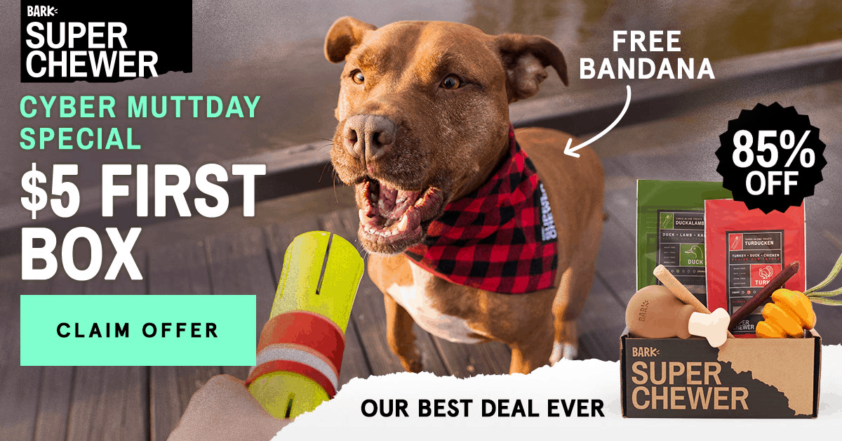 Super Chewer CYBER MUTTDAY Coupon: First Box $5 + FREE Bandana!