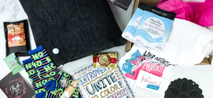 The Introverted Chick November 2019 Subscription Box Review + Coupon