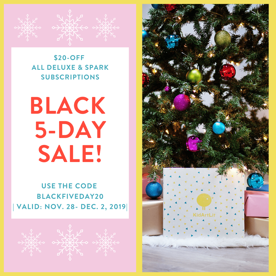 KidArtLit Black Friday 2019 Coupon: Save $20 on Deluxe and Spark Subscriptions!