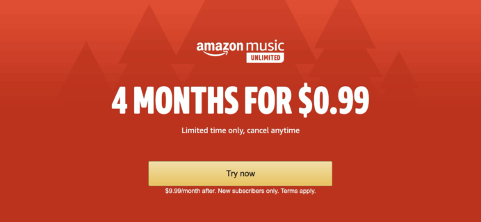 Amazon Music Unlimited Black Friday Deal: 4 Months for 99¢!