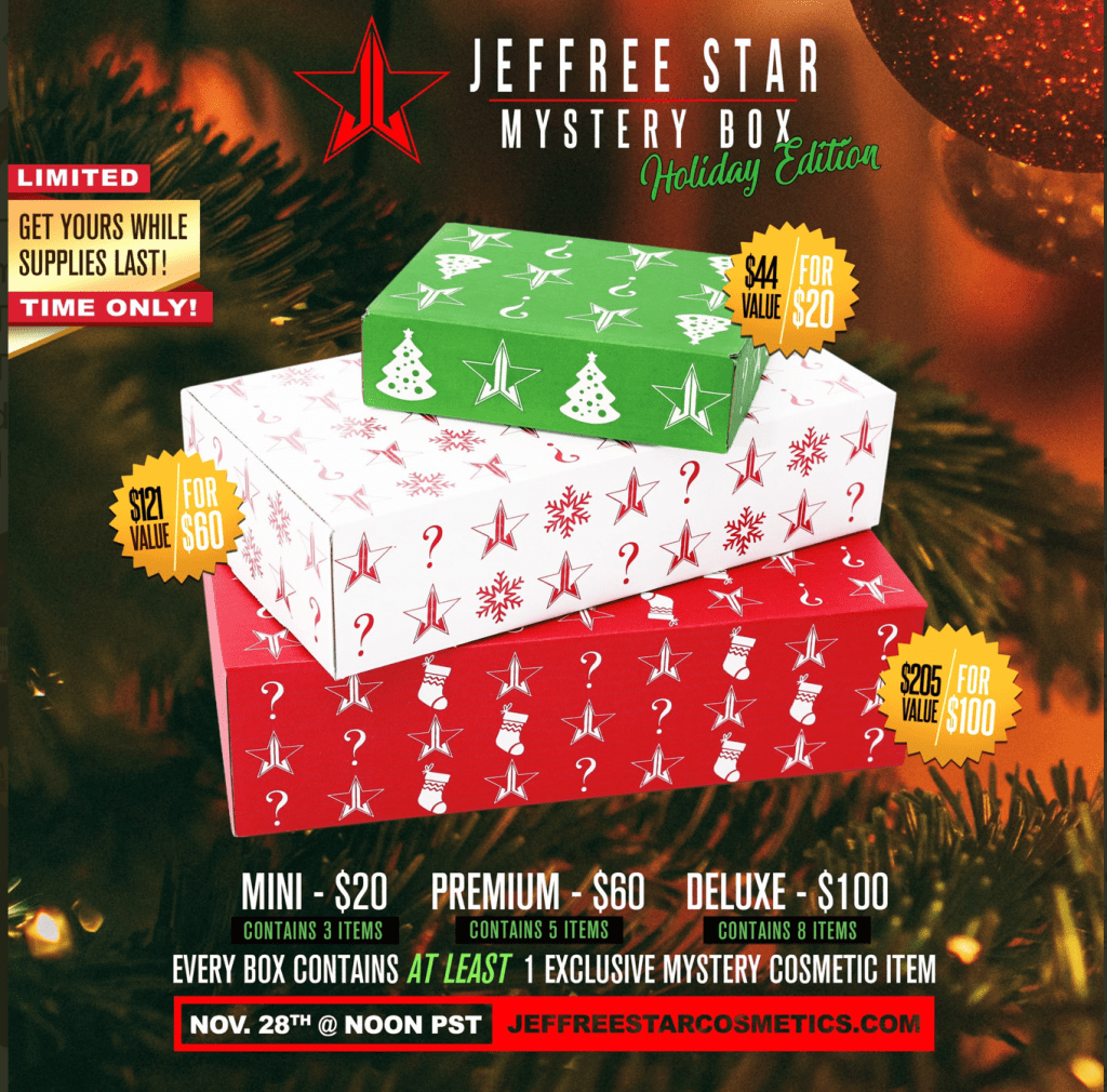 REMINDER: Jeffree Star Holiday Mystery Boxes Launch Thanksgiving Day 3pm Eastern!