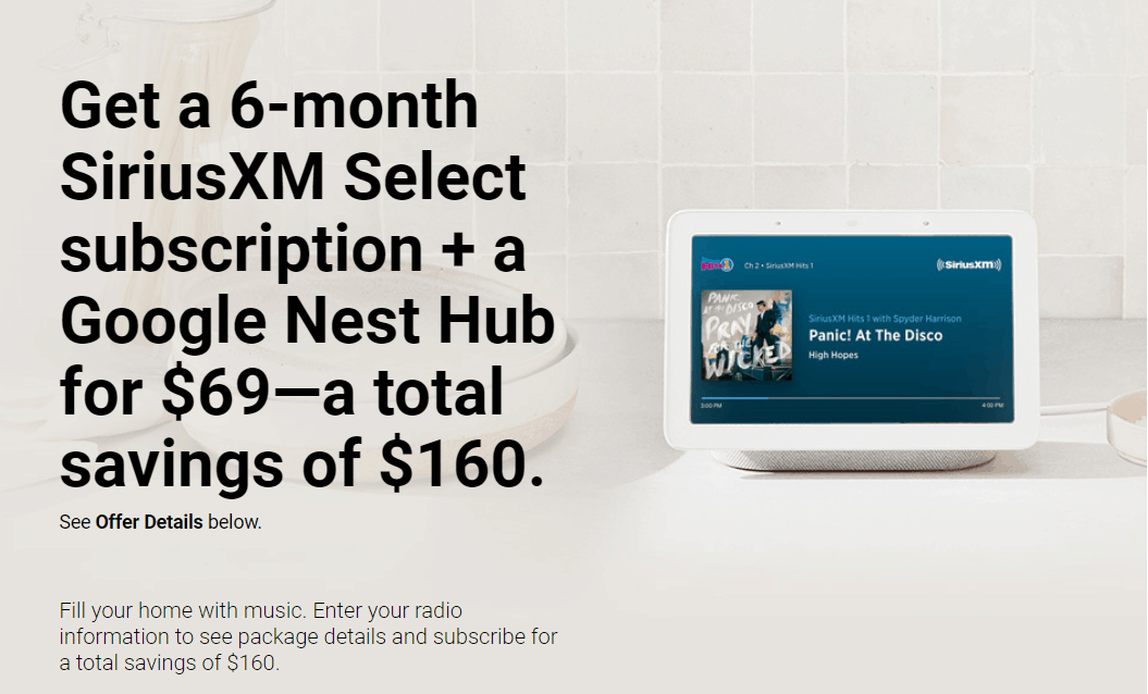 SiriusXM Black Friday Coupon: Get FREE Google Nest Hub With 6 Month Select Subscription!
