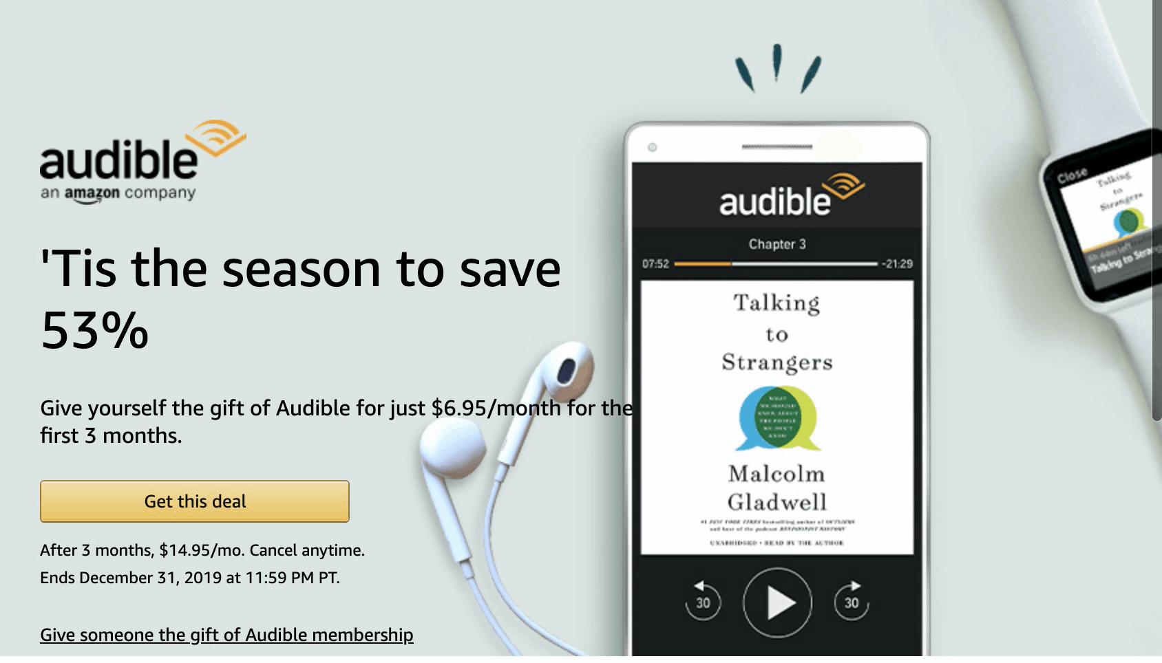Audible Cyber Monday Deal: $6.95 a Month for 3 Months or 1 Month FREE!
