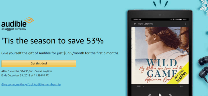 Audible Holiday  Deal: $6.95 a Month for 3 Months OR 1 Month FREE!