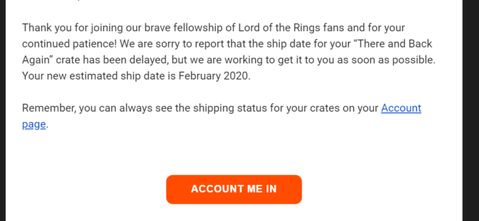 Loot Crate Lord of the Rings Limited Edition Crate 3 Shipping Update!