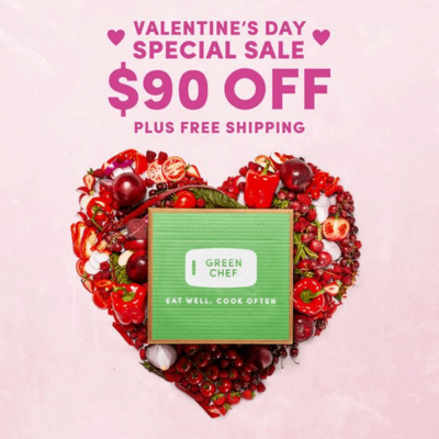 Green Chef Valentine's Day Deal: Get $90 off your first four boxes plus FREE shipping!