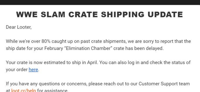 WWE Slam Crate February 2020 Shipping Update